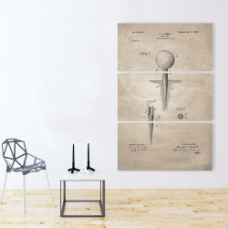 Canvas 40 x 60 - Beige blueprint of golf tee