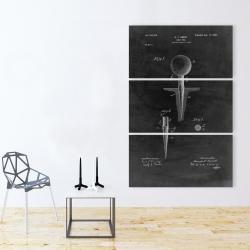 Canvas 40 x 60 - Black blueprint of golf tee