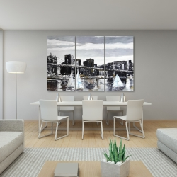 Canvas 40 x 60 - Brooklyn bridge with sailboats