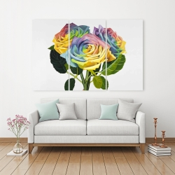 Canvas 40 x 60 - Bouquet of rainbow roses