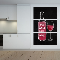 Canvas 40 x 60 - Save water drink wine