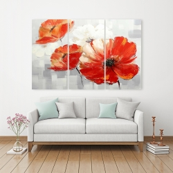 Canvas 40 x 60 - Abstract red wild flowers
