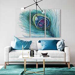 Canvas 40 x 60 - Peacock feather closeup