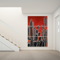 Canvas 40 x 60 - Black tall cactus