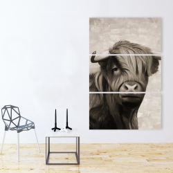Canvas 40 x 60 - Highland cattle sepia