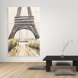 Canvas 40 x 60 - Eiffel tower with flying birds