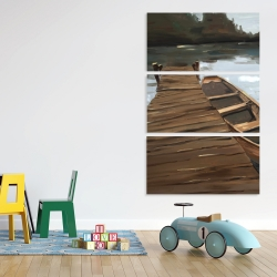 Canvas 40 x 60 - Lake, dock and boat