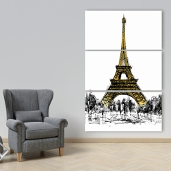 Canvas 40 x 60 - Outline of eiffel tour
