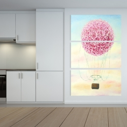 Canvas 40 x 60 - Hot air balloon hydrangea flowers