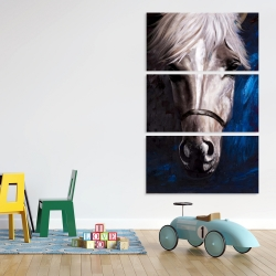 Canvas 40 x 60 - White horse on blue background