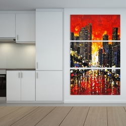Canvas 40 x 60 - Abstract sunset on the city