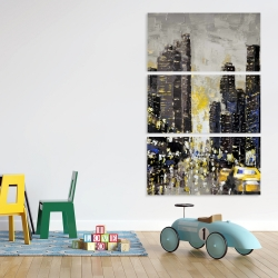 Canvas 40 x 60 - Abstract and texturized city with yellow taxis