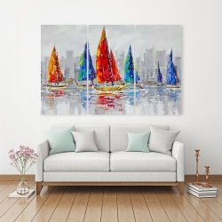 Canvas 40 x 60 - Colorful boats near a gray city