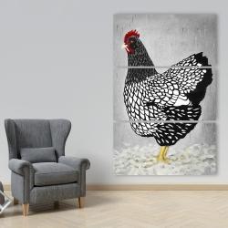 Canvas 40 x 60 - Black and white wyandotte hen