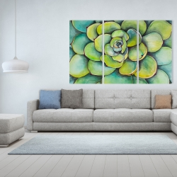 Canvas 40 x 60 - Watercolor succulent plant
