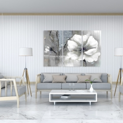Canvas 40 x 60 - Monochrome and silver flowers