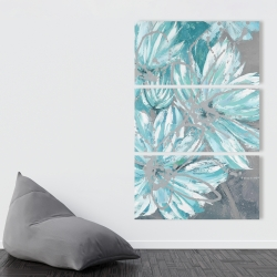 Canvas 40 x 60 - Three little abstract blue flowers