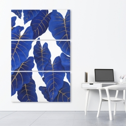 Canvas 40 x 60 - Tropical abstract blue leaves