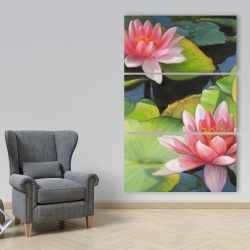 Canvas 40 x 60 - Water lilies and lotus flowers