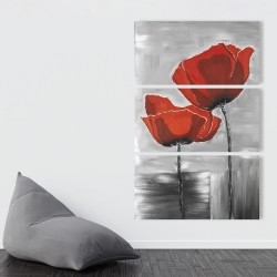 Canvas 40 x 60 - Two red flowers on a grayscale background