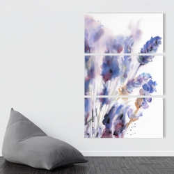 Canvas 40 x 60 - Watercolor lavender flowers with blur effect