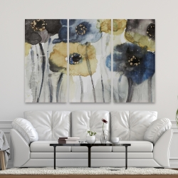 Canvas 40 x 60 - Gray blue and yellow flowers