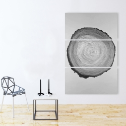 Canvas 40 x 60 - Grayscale round wood log