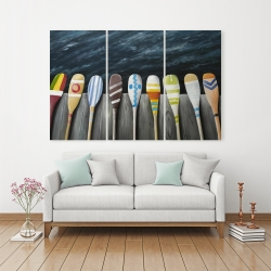 Canvas 40 x 60 - Colorful paddles on the dock