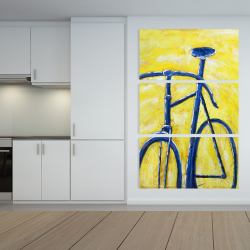 Canvas 40 x 60 - Blue bike on yellow background