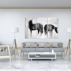 Canvas 40 x 60 - Horses silhouettes in the mist