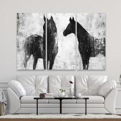 Canvas 40 x 60 - Black and white horses