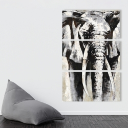 Canvas 40 x 60 - Grayscale elephant