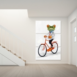 Canvas 40 x 60 - Funny frog riding a bike