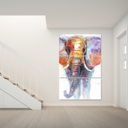 Canvas 40 x 60 - Colorful walking elephant