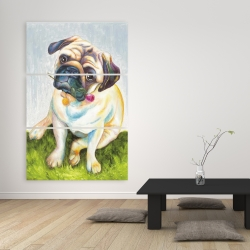Canvas 40 x 60 - Cute pug with a rose in his mouth