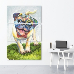 Canvas 40 x 60 - Colorful smiling pug