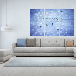 Canvas 40 x 60 - Birds on a wire with a clear blue sky