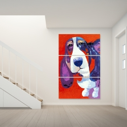 Canvas 40 x 60 - Abstract colorful basset dog