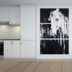Canvas 40 x 60 - Abstract horse on black background