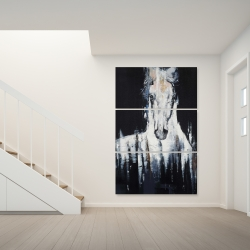 Canvas 40 x 60 - Abstract white horse on black background