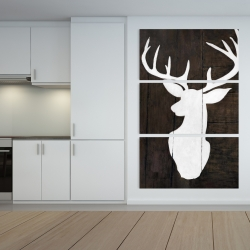 Canvas 40 x 60 - Silhouette of a deer on wood