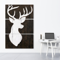 Canvas 40 x 60 - White silhouette of a deer on wood