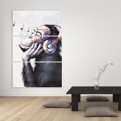 Canvas 40 x 60 - Monkey listening music