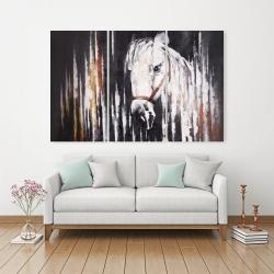 Canvas 40 x 60 - White horse in the dark