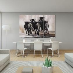 Canvas 40 x 60 - Group of running bulls