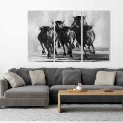 Canvas 40 x 60 - Group of bulls at galops