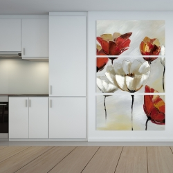 Canvas 40 x 60 - Abstract red and white flowers