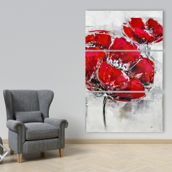 Canvas 40 x 60 - Abstract and texturized red flowers