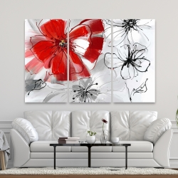 Canvas 40 x 60 - Red & gray flowers