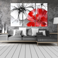 Canvas 40 x 60 - Red & white flowers sketch